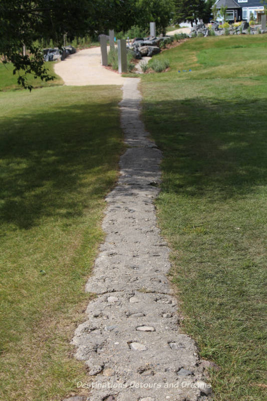 Remnants of an old dike/seawall lead to Viking Park in Gimli, Manitoba