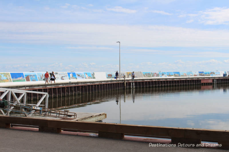 Murals on the seawall at Gimli, Manitoba