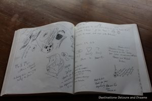 Guestbook artwork. A Sweet Visit to Westholme Tea on Vancouver Island. Tea, pottery, sweets on a Canadian tea farm.