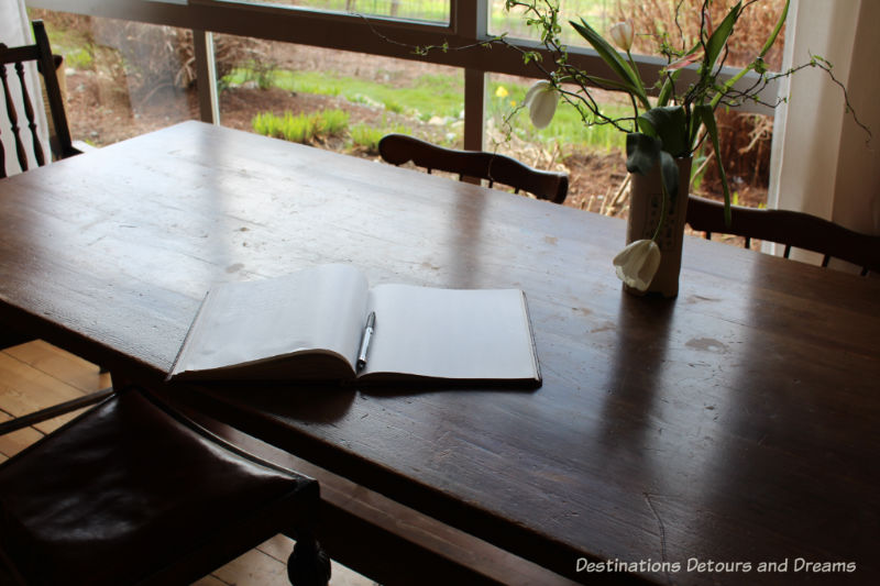 Art-filled guestbook. A Sweet Visit to Westholme Tea on Vancouver Island. Tea, pottery, sweets on a Canadian tea farm.
