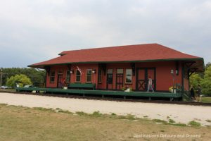 heritage building at Grosse Isle,a stop on The Great Train Robbery: a fun excursion on Manitoba's Prairie Dog Central Railway, a heritage train