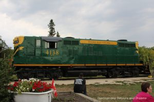 Engine on The Great Train Robbery: a fun excursion on Manitoba's Prairie Dog Central Railway, a heritage train