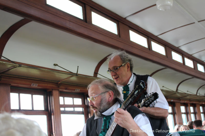 Entertainers on board The Great Train Robbery: a fun excursion on Manitoba's Prairie Dog Central Railway, a heritage train