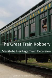The Great Train Robbery: a fun excursion on Manitoba's Prairie Dog Central Railway, a heritage train, Winnipeg, Manitoba