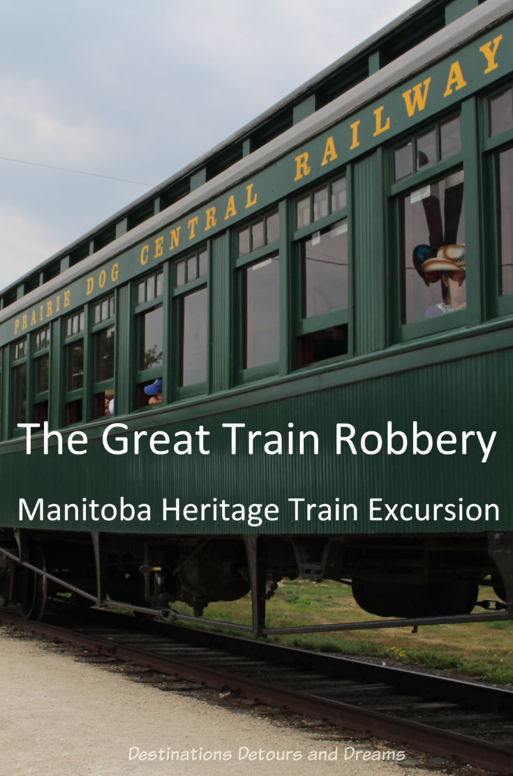 The Great Train Robbery: a fun excursion on Manitoba's Prairie Dog Central Railway, a heritage train, Winnipeg, Manitoba #Manitoba #Winnipeg #train #heritagetrain #history
