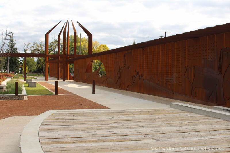 Heritage Wall at Upper Fort Garry, Winnipeg: Discovering history through technology, art, gardens and an old gate