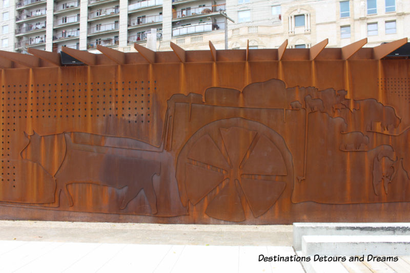 Red River Cart on Heritage Wall at Upper Fort Garry Provincial Park in Winnipeg, Manitoba