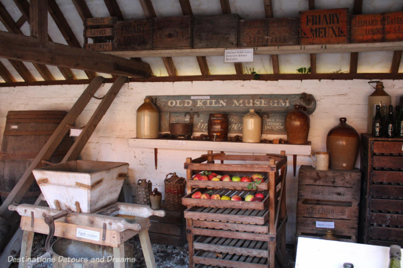 Cider making display at the Rural Life Centre in Tilford, Surrey showcasing over 150 years of British rural life