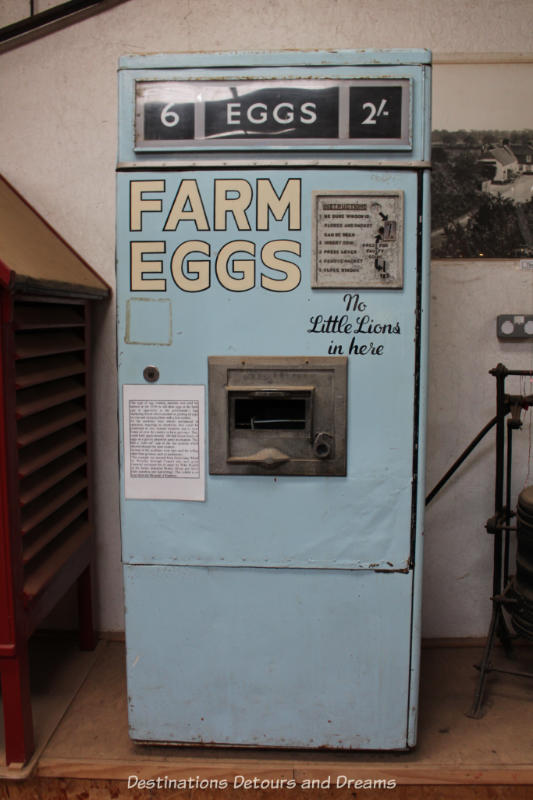 Egg vending machine at the Rural Life Centre in Tilford, Surrey showcasing over 150 years of British rural life
