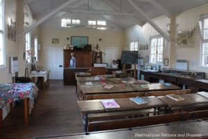 school room at the Rural Life Centre in Tilford, Surrey showcasing over 150 years of British rural life