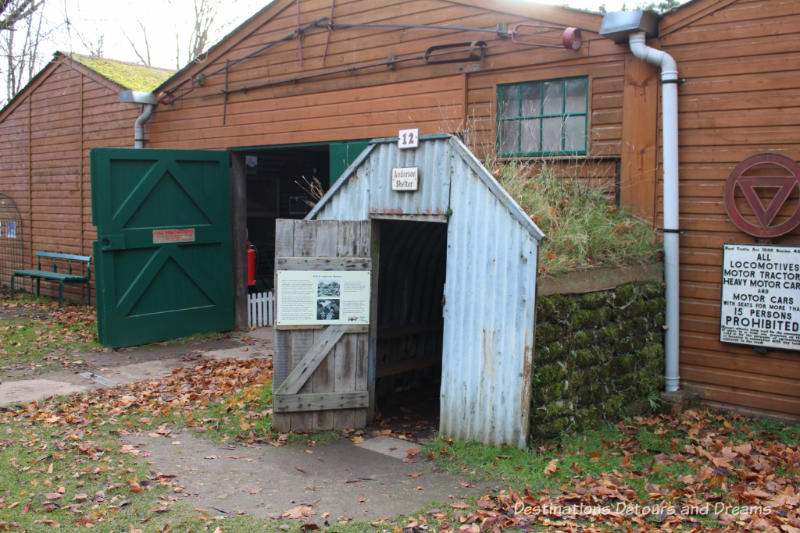 Anderson war shelter at the Rural Life Centre in Tilford, Surrey showcasing over 150 years of British rural life