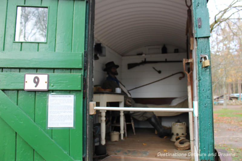 Shepherd's hut at the Rural Life Centre in Tilford, Surrey showcasing over 150 years of British rural life
