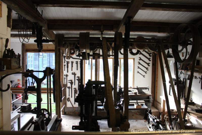 Tool collection at the Rural Life Centre in Tilford, Surrey showcasing over 150 years of British rural life