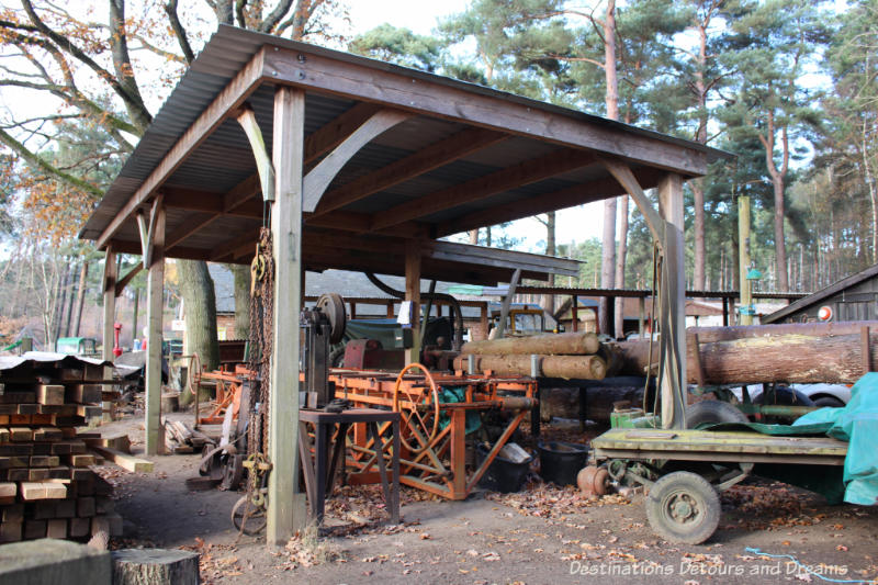 A working wood yard at the Rural Life Centre in Tilford, Surrey showcasing over 150 years of British rural life
