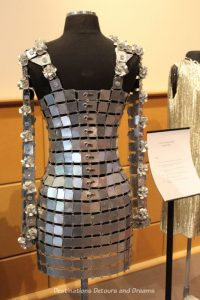 Paco Rabanne 1968 silver metal mini dress. Dressing Up: Celebrating Canada's New Years Through The Decades. Highlights from the Eve of Elegance Exhibit by the Costume Museum of Canada.