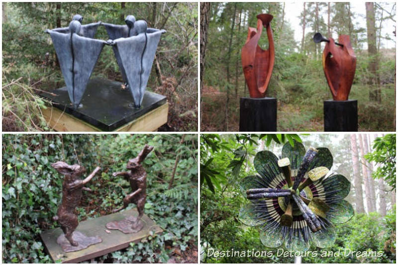 small sculptures at Churt Sculpture Garden