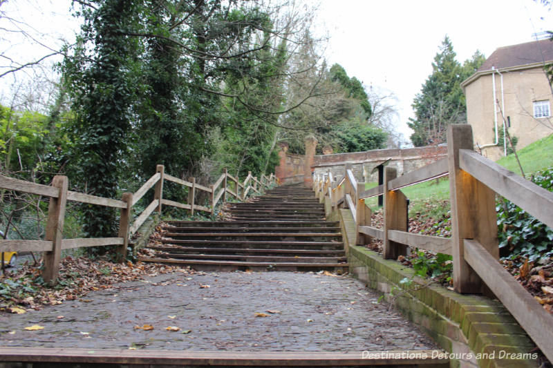 Blind Bishop's Steps. History and British Charm in Farnham. Farnham is a historic British market town located on the western edges of Surrey in the rolling Surrey Hills. It is known for its Georgian streets, historic buildings, craft heritage, and easy access to the North Downs Way.