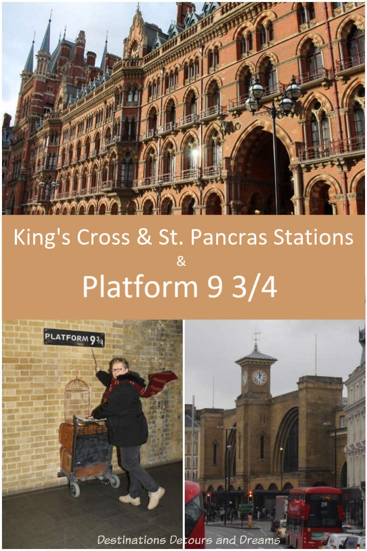 Fronts of King's Cross Station and St. Pancras Station and a photo of platform 9 3/4