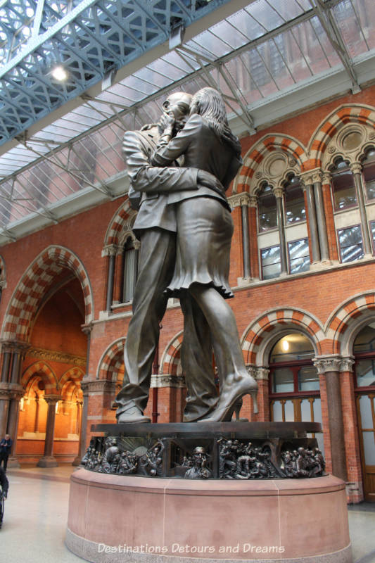 Meeting Place sculpture by Paul Day at St Pancras Station, London, England