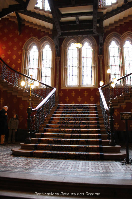 Grand staircase at St Pancras Hotel, London, England