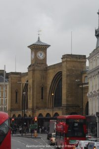the historic King's Cross Station, Victorian architecture now also home to fictional Platform 9 3/4 fort he Hogwarts Express