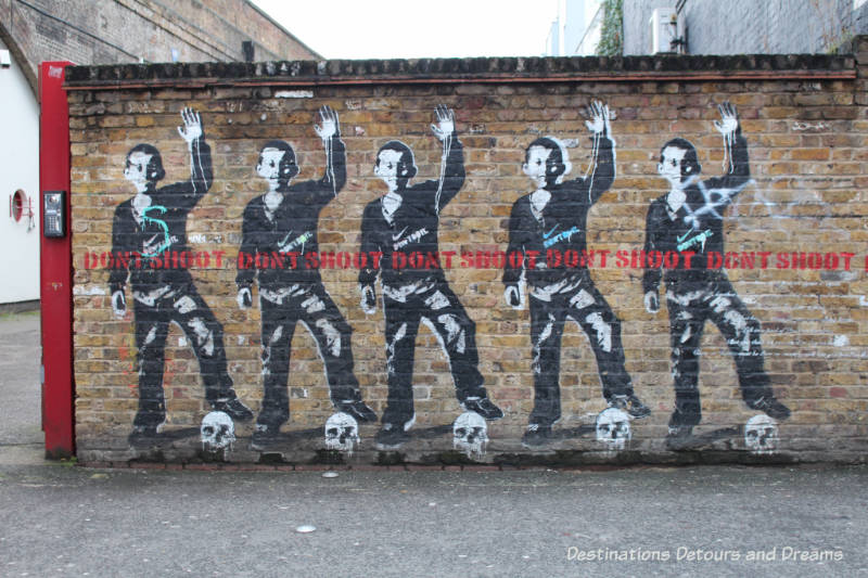 London street art in Shoreditch; Don't Shoot by London street artist Bambi
