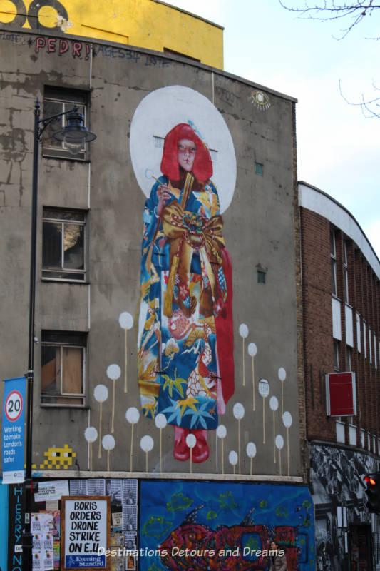 Street Art in Shoreditch: Geisha on Red Gallery