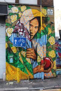 London street art in Shoreditch: Work by Ananda Nahu of Brazil