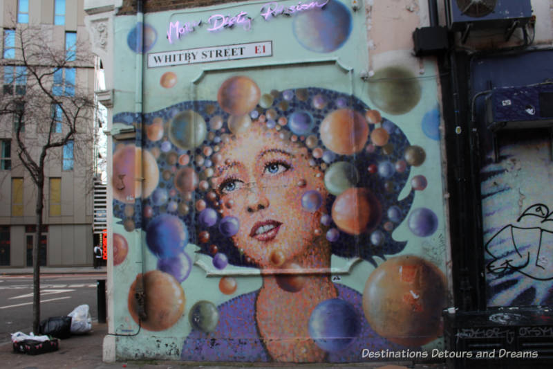 London street art in Shoreditch: painting by Jimmy C on Whitby Street