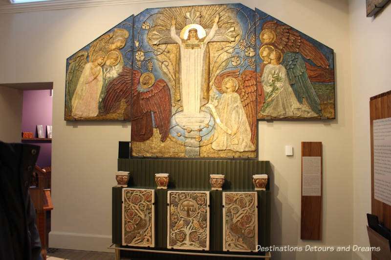 Mary Watts altar panels at Watts Gallery - Artists' Village in Compton, Surrey