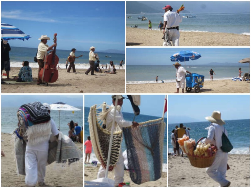Vendors along the beach in Puerto Vallarta, Mexico