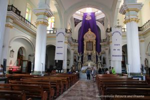 Interior of Our Lady of Guadalupe Church in Puerto Vallarta, Mexico