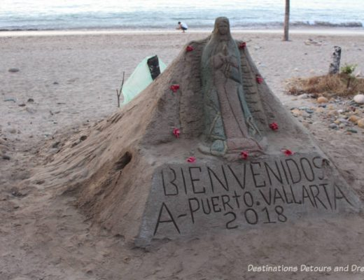 Impressions of Puerto Vallarta: sand sculpture welcome