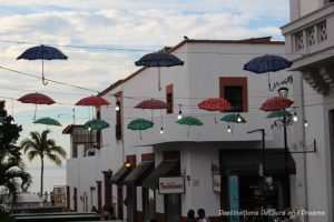 Impressions of Puerto Vallarta: colourful overhead street decorations - umbrellas