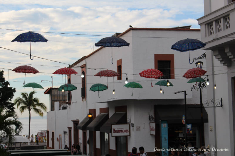 Impressions of Puerto Vallarta: colourful overhead street decorations - umbrellas