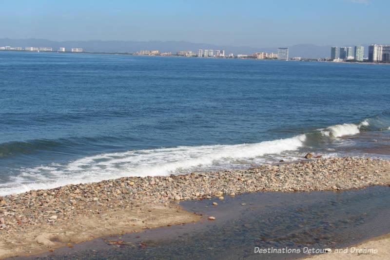 Impressions of Puerto Vallarta: waves against the shore