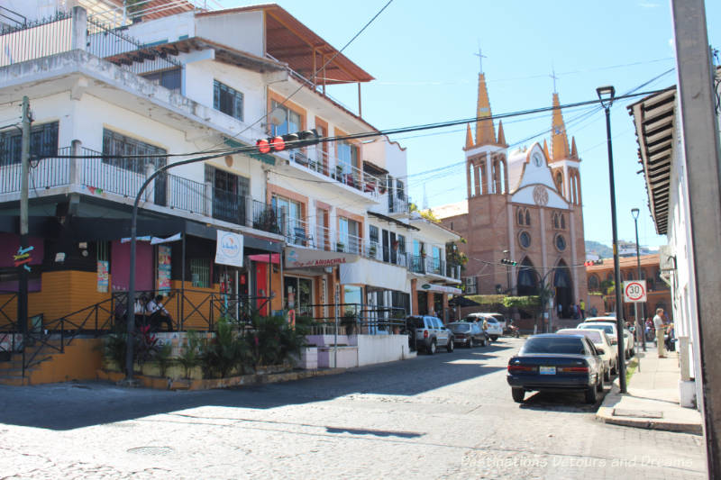 Street in 5 de Diciembre leading to The Church of Our Lady of Refuge, Puerto Vallarta, Mexico
