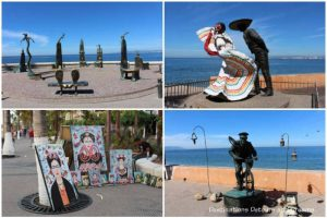 Statues, paintings and living statue along Puerto Vallarta's Malecon: strolling the Malecon is one of a dozen things to do in the city