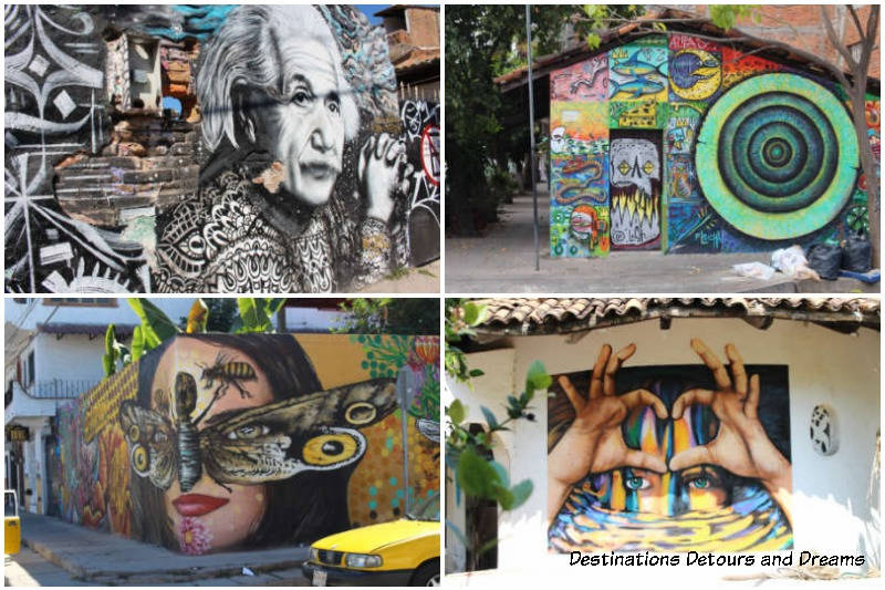 Selection of Puerto Vallarta street art - art is one of a dozen things to do in the city