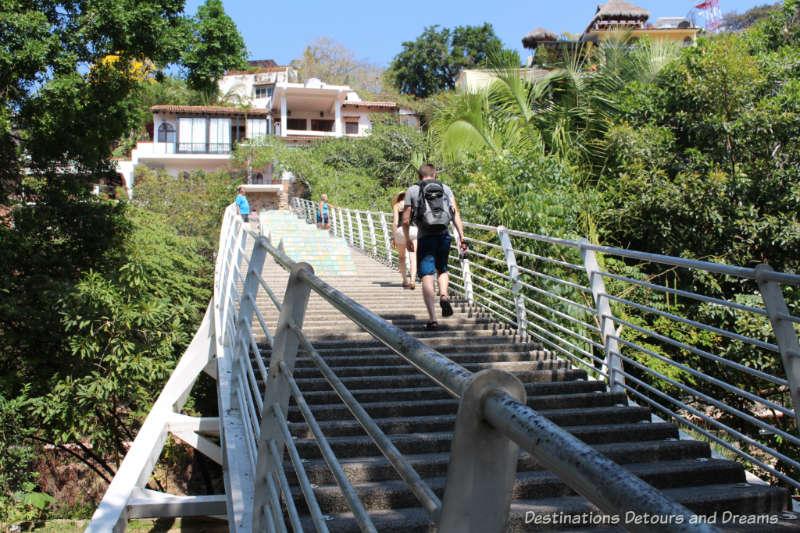 Pedestrian bridge/stairway from Gringo Gulch to Isla Cuale: Puerto Vallarta's Island Oasis