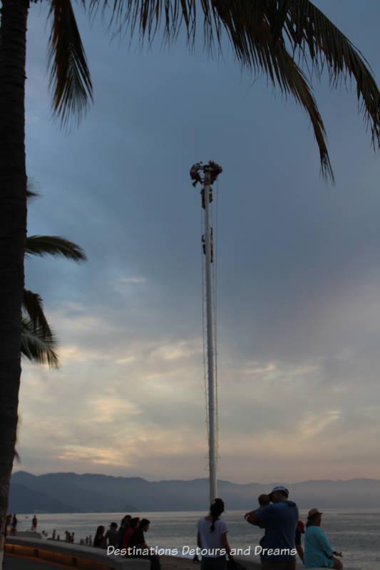 Strolling the Puerto Vallarta Malecón: Flying Totonac dancers setting up