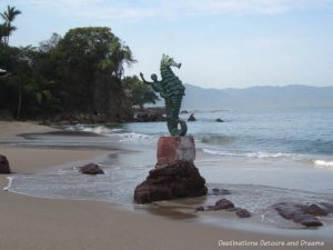 Strolling the Puerto Vallarta Malecón: The original Boy on a Seahorse statue south of Los Muertos Beach