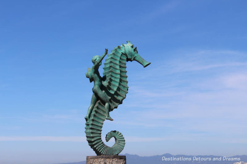 Seaside Sculptures Along the Malecón in Puerto Vallarta, Mexico: Boy on a Seahorse