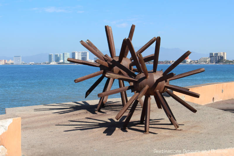 Seaside Sculptures Along the Malecón in Puerto Vallarta, Mexico: Eriza-Dos (Standing on End)