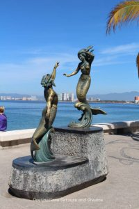 Seaside Sculptures Along the Malecón in Puerto Vallarta, Mexico: Triton and Mermaid