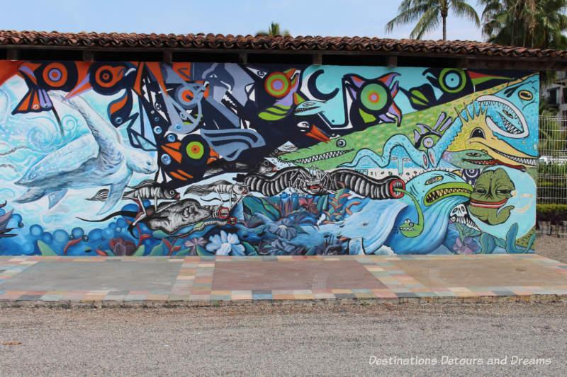 Puerto Vallarta street art: stylized angry fish
