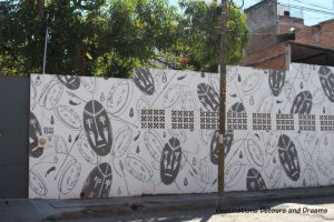 Street art in Puerto Vallarta: mural of black and white designs