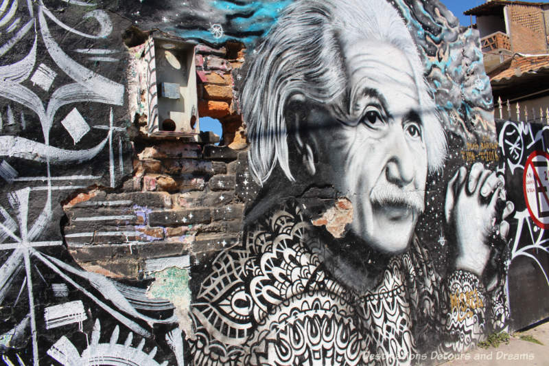 Einstein mural by Misael in Puerto Vallarta