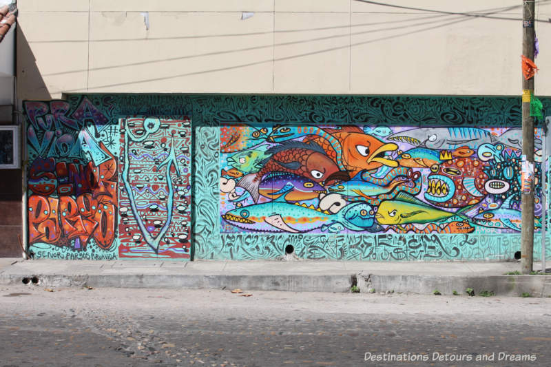 Colourful fish mural in Puerto Vallarta