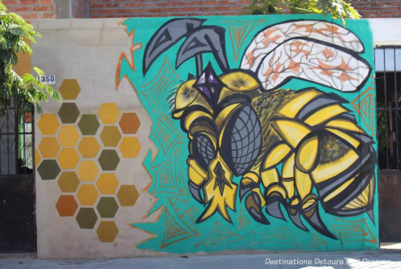 Bee mural by street artist Misael in Puerto Vallarta